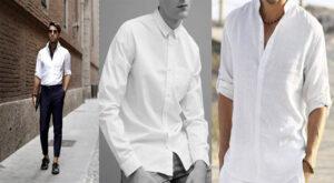 phối đồ với áo sơ mi trắng nam